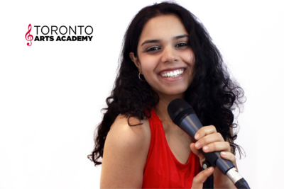 girl in singing lessons with microphone in voice lessons