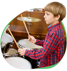 boy drum student playing drums flexible scheduling